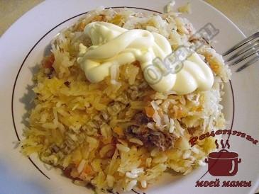 Рисовая каша с мясом и овощами