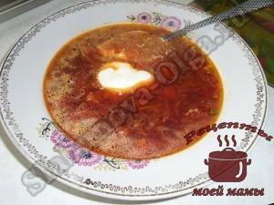Вкусный борщ из свеклы, приготовленной на зиму