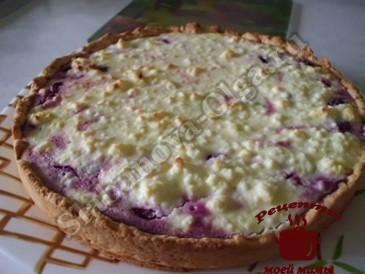 Вишневый пирог в творожном суфле