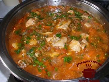 Гуляш из куриного филе в томатном соусе готов