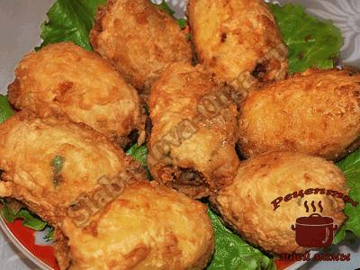 Картофель фаршированный ветчиной с сыром