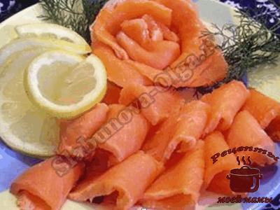 как украсить блюда, розочки из соленой рыбы