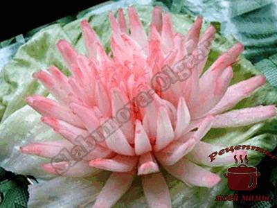 Украшение блюд. Хризантема из репчатого лука