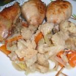 Курица запеченная в духовке с цветной капустой