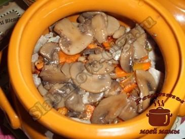 Тушеные-куриные-желудки-с-грибами,-слоями