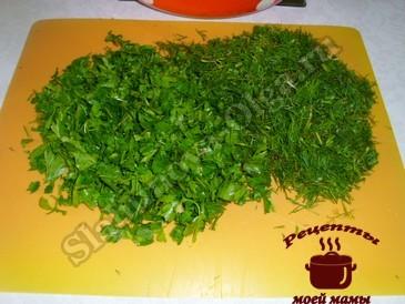 Закуска из баклажанов, режем зелень