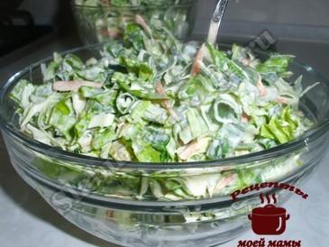 Салат из капусты с зеленым салатом