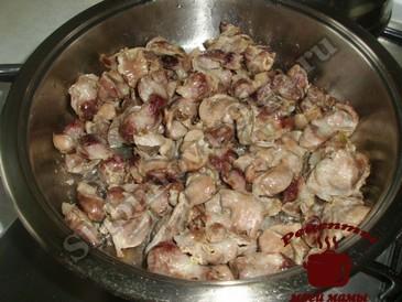 Куриные желудки, обжариваем