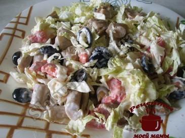 Салат с пекинской капустой и маринованными грибами