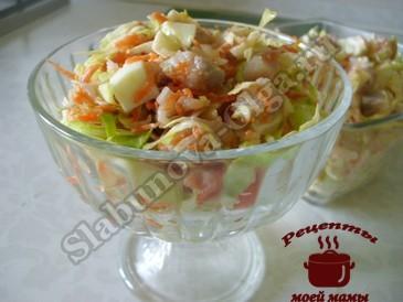 Салат с селедкой и капустой