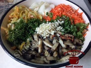Баклажаны по-корейски, режем овощи