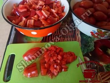 Болгарский перец, режем овощи